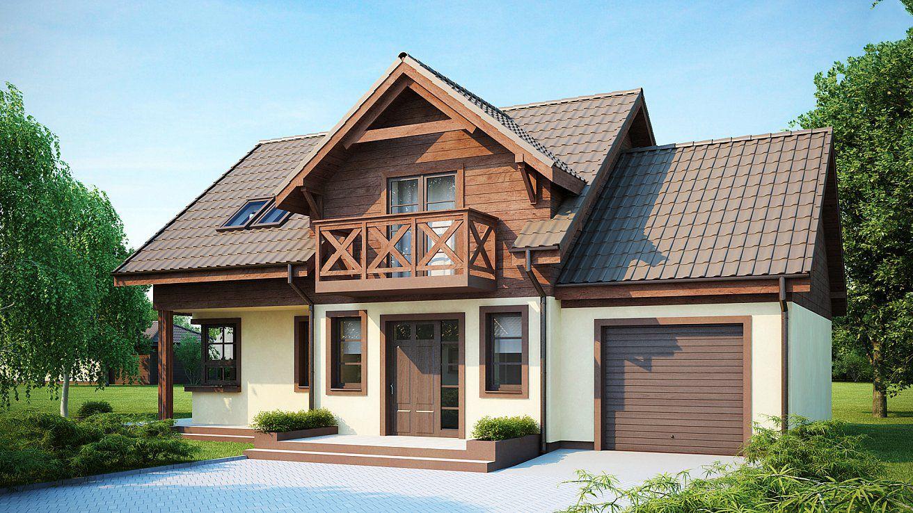 Эскиз проекта практичного дома с гаражом, с мансардным окном.